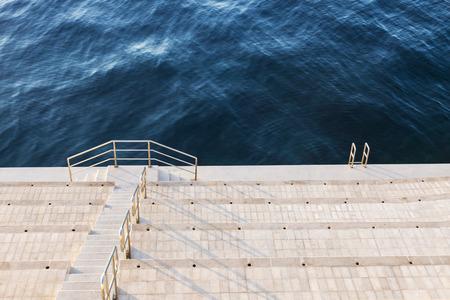 alpes maritimes: Sea shore - ready for swimming. Monaco-Ville, Monaco.