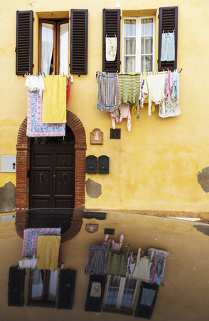 europe travel: Hanging loundry - seen in Tuscany. Tuscany, Italy.
