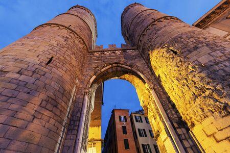 genoa: Porta Soprana in Genoa. Genoa, Liguria, Italy,