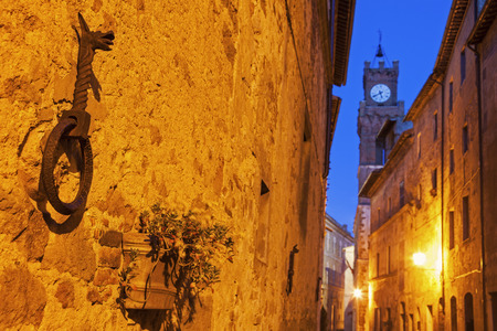 Pienza old town before sunrise. Pienza, Tuscany, Italy