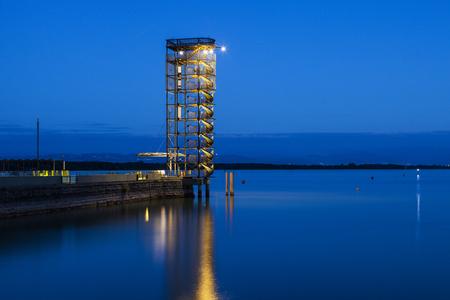 friedrichshafen: Pier in Friedrichshafen with view tower. Friedrichshafen, Baden-Wurttemberg, Germany. Stock Photo