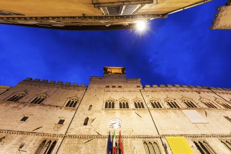 Architecture of Perugia at night. Perugia, Umbria, Italy.