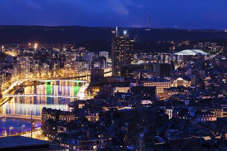liege: Panorama of Liege at night. Liege, Wallonia, Belgium Stock Photo