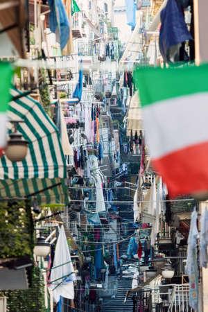 italy street: Narrow streets of Naples. Naples, Campania, Italy. Stock Photo