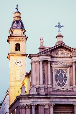 disctrict: San Carlo Borromeo Church in Turin. Turin, Piedmont, Italy