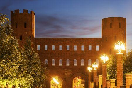 palatine: Porta Palatina - Palatine Towers in Turin. Turin, Piedmont, Italy