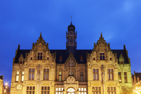 flemish region: Grote Markt architecture in Ypres. Ypres, West Flanders, Flemish Region, Belgium Stock Photo