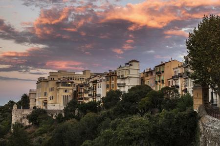 alpes maritimes: Sunset in Monaco. Monaco-Ville, Monaco.