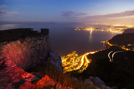 alpes maritimes: Cap-dAil during sunset. Cap-dAil, French Riviera, France. Stock Photo