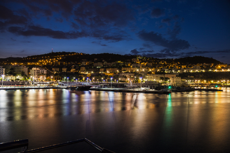 alpes maritimes: Aerial panorama of NIce at evening. Nice, French Riviera, France. Stock Photo