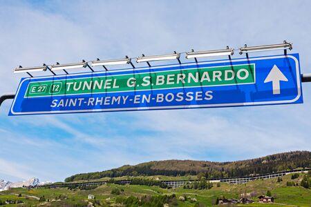 st bernard: St Bernard Tunnel sign. San Bernardino, Aosta Valley, Italy.