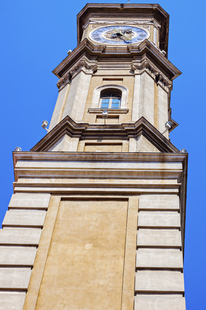 french riviera: Nice Old Town - clock tower. Nice, French Riviera, France. Stock Photo