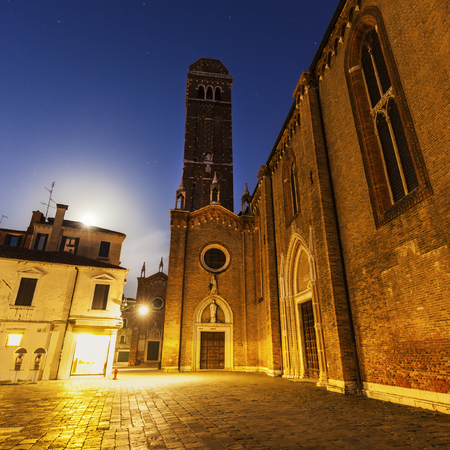 veneto: Full Moon setting in Venice. Venice, Veneto, Italy