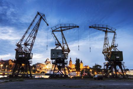 industry architecture: Old cranes in Szczecin. Szczecin, West Pomeranian, Poland Stock Photo