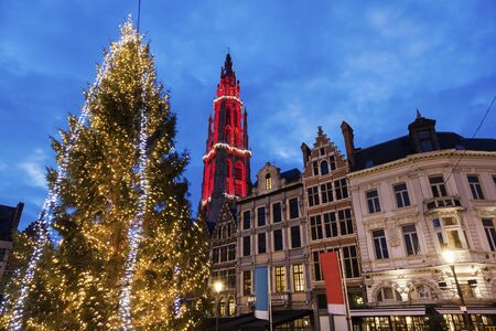 flemish region: Christmas on Grote Markt in Antwerp. Antwerp, Flemish Region, Belgium Stock Photo