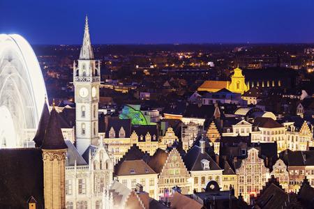 flemish region: Aerial view of Ghent at night. Ghent, Flemish Region, Belgium.