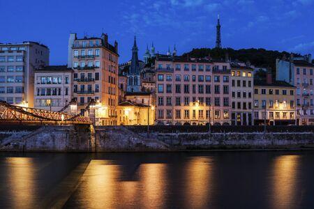 lyon: Architecture of Lyon along Saone River river. Lyon, Rhone-Alpes, France.