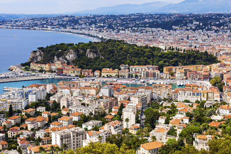 french riviera: Nice panorama seen from Mt Boron. Nice, French Riviera, France.