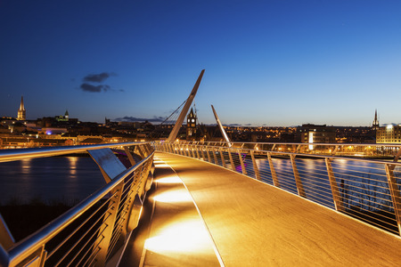 Peace Bridge in Derry. Derry, Northern Ireland, United Kingdom. Stock Photo - 60948354