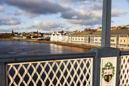 northern ireland: Derry panorama from Craigavon Bridge. Derry, Northern Ireland, United Kingdom.