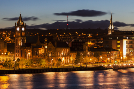 old town guildhall: Panorama of Derry. Derry, Northern Ireland, United Kingdom. Stock Photo