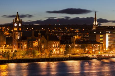 northern ireland: Panorama of Derry. Derry, Northern Ireland, United Kingdom. Stock Photo