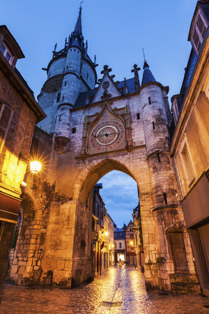 Auxerre Clock Tower at night. Auxerre, Burgundy, France