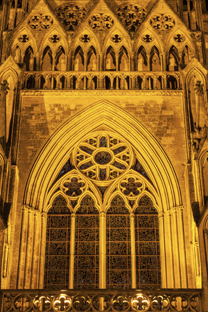 normandy: Coutances Cathedral at night. Coutances, Normandy, France