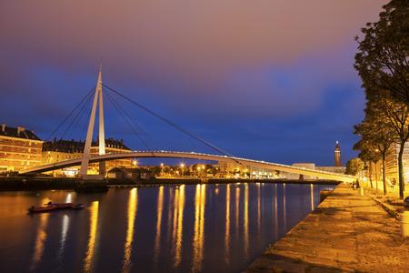 pedestrian bridge: Pedestrian bridge in the center of Le Havre. Le Havre, Normandy, France