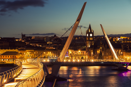 old town guildhall: Peace Bridge in Derry. Derry, Northern Ireland, United Kingdom. Stock Photo
