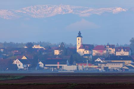Panorama of Unterpremstatten. Graz, Styria, Austria.