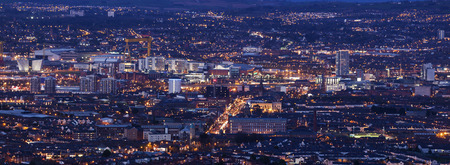 northern ireland: Aerial panorama of Belfast. Belfast, Northern Ireland, United Kingdom.