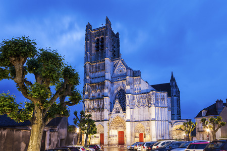 burgundy: Auxerre Cathedral at dawn. Auxerre, Burgundy, France Stock Photo