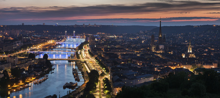 Panorama of Rouen at sunset. Rouen, Normandy, France