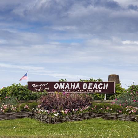 omaha: Welcome to Omaha Beach Saint Laurent sur Mer, Normandy, France. Stock Photo