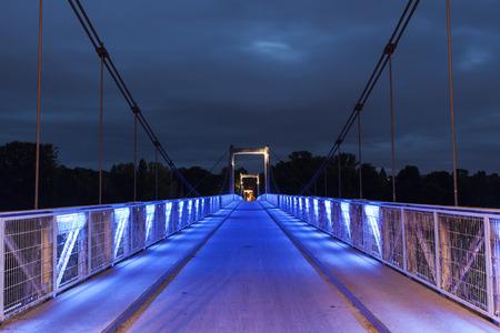 pedestrian bridge: Pedestrian bridge above Loire River in Tours. Tours, Pays de la Loire, France