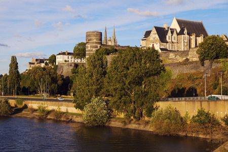 the loire: Angers panorama at sunset. Angers, Pays de la Loire, France Stock Photo