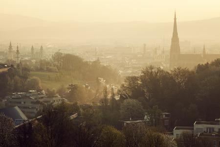linz: Linz panorama at sunrise. Linz, Upper Austria, Austria. Stock Photo
