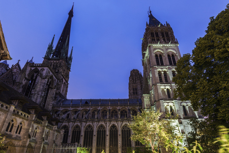 normandy: Rouen Cathedral at night. Notre-Dame Rouen, Normandy, France