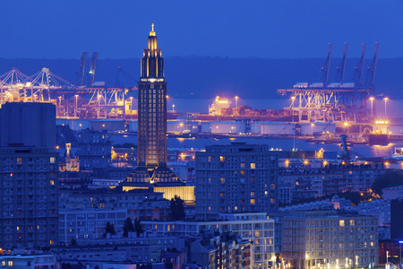 le: Panorama of Le Havre at night. Le Havre, Normandy, France Stock Photo