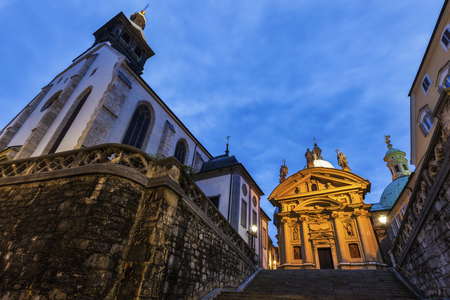 Graz Cahtedral and Katharinenkirche. Graz, Styria, Austria. Stock Photo