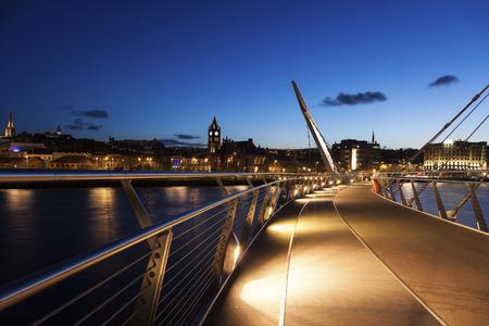 northern ireland: Peace Bridge in Derry. Derry, Northern Ireland, United Kingdom. Stock Photo