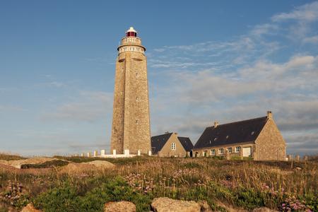 normandy: Cap Levi Lighthouse. Fermanville-Bourg, Normandy, France. Stock Photo