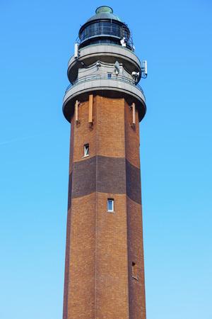 night dusk: Le Touquet Lighthouse. Le Touquet, Nord-Pas-de-Calais-Picardy, France. Stock Photo