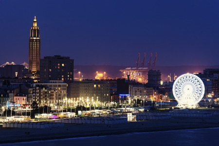 atlantic city: Panorama of Le Havre at night. Le Havre, Normandy, France Stock Photo