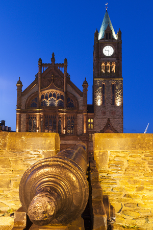 old town guildhall: Guildhall in Derry Derry, Northern Ireland, United Kingdom.