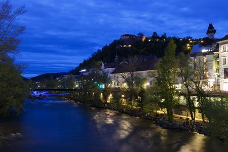 Castle Hill and Mur River. Graz, Styria, Austria.