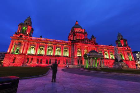 northern ireland: Illuminated Belfast City Hall. Belfast, Northern Ireland, United Kingdom.