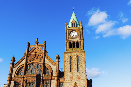 old town guildhall: Guildhall in Derry. Derry, Northern Ireland, United Kingdom.
