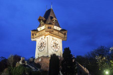 The Uhrturm in Graz. Graz, Styria, Austria. Stock Photo